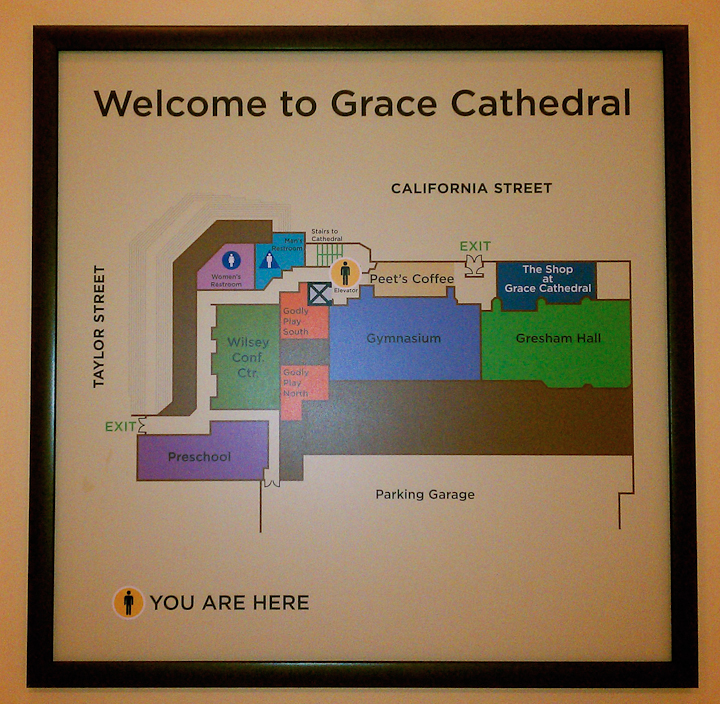 Map of Grace Cathedral, San Francisco