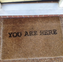 "Picture of Doormat, printed with ""You Are Here"""