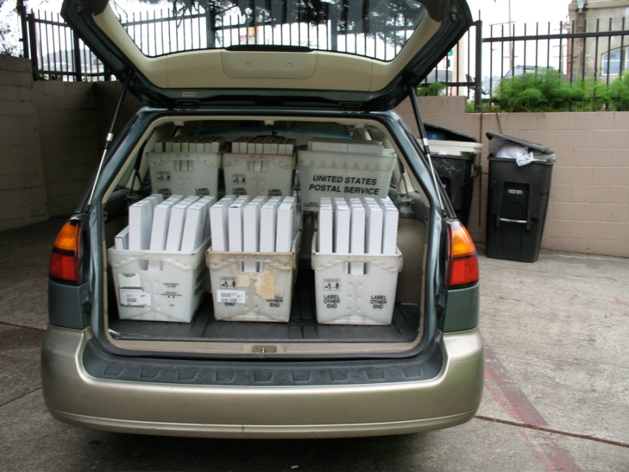 One of many round trips to the post office in the first weeks!